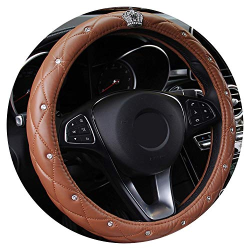 5 Color Upscale Crystal Crown Covered Women Car Steering- Wheel Braid Luxury Diamond Pu Leather Steering Wheel Cover Diameter 38Cm