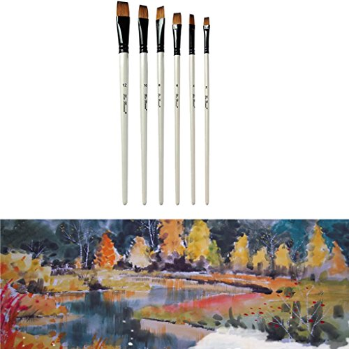 Gbell 6Pcs/Pack Nylon Watercolor Painting Brush Professional,Oil Painting Brushes Set,School Supplies for kids (A)