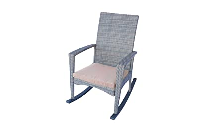 amazon com patio rocking chair in grey wicker with medium beige