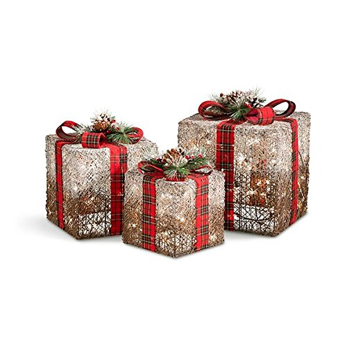 Set of 3 Frosted Lighted Presents Outdoor Christmas Decorations with Plaid Bow by Improvements