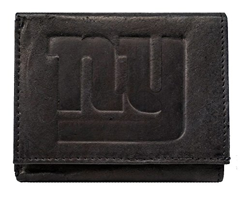 - Rico New York NY Giants NFL Embossed Logo Black Leather Trifold Wallet