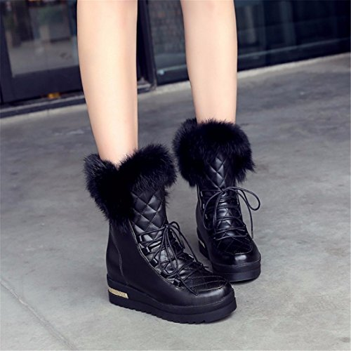 Snow Boots With Thick Bottom Short Tube Warm Shoes Lace Maomao Students,Black,39