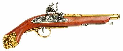 Denix 18th Century Flintlock Pistol with Brass Ornate Handle Butt -  Non-Firing Replica