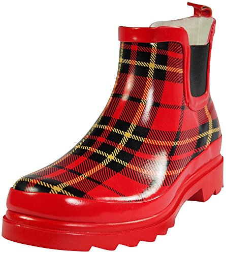 Sunville Womens Short Ankle Rubber Rain Boots Red Plaid