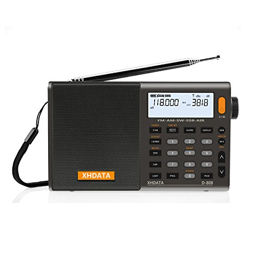 XHDATA D-808 draagbare digitale radio, FM-stereo/KW/MW/LW SSB RDS Air Band multi-band radio luidspreker met LCD-scherm…