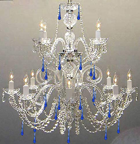 AUTHENTIC ALL CRYSTAL CHANDELIER CHANDELIERS WITH BLUE CRYSTALS!