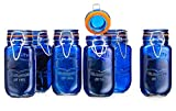 Elegant Home Airtight Glass Spice Jar Hermetic Seal Bail & Trigger /Jar with Lidx2022; Use As Spice Canisterx2022; / Set of 6 (Blue)