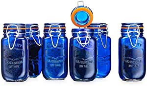 Elegant Home Airtight Glass Spice Jar Hermetic Seal Bail & Trigger/Jar with Lidx2022; Use As Spice Canisterx2022; / Set of 6 (Blue)