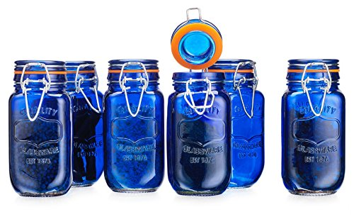 Elegant Home Airtight Glass Spice Jar Hermetic Seal Bail & Trigger /Jar with Lidx2022; Use As Spice Canisterx2022; / Set of 6 (Blue) (5 Jar Clear Oz)