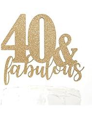 NANASUKO 40th Birthday Cake Topper - 40 & fabulous - Premium quality Made in USA