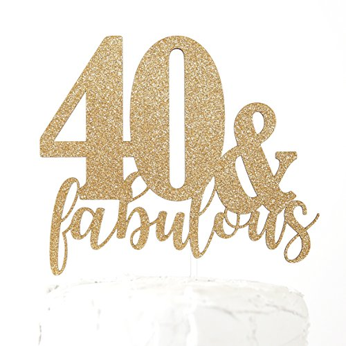 NANASUKO 40th Birthday Cake Topper - 40 & fabulous - Premium quality Made in (Fabulous Chipboard)