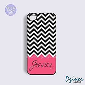 Monogrammed iPhone 5 5s Case - Black White Chevron Bright Coral Pattern iPhone Cover