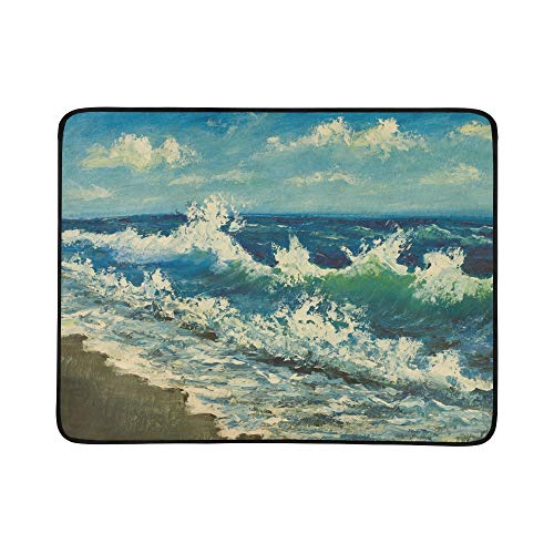 Original Oil Painting Sea Beachbeautiful Waves Portable and Foldable Blanket Mat 60x78 Inch Handy Mat for Camping Picnic Beach Indoor Outdoor - Paintings 1887 Oil