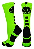 MadSportsStuff Basketball Logo Athletic Crew Socks, Small - Neon Green/Black