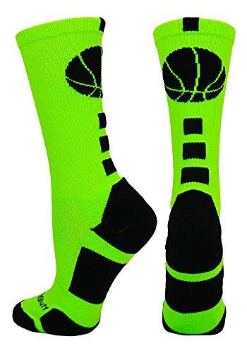 (MadSportsStuff Basketball Logo Athletic Crew Socks, Small - Neon)