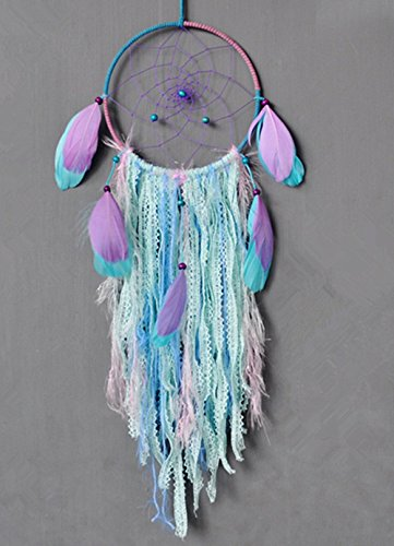Buvelife Dream catcher handmade traditional white feather wind chime wall hanging home decoration (Purple Bohemia Dream Catcher)