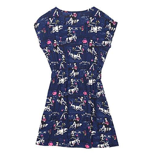 Dress Crewneck Dark Printed Sleeve Floral Coolred Blue Kimono Short Women's naWw1xqR0