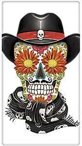 "Halloween Cowboy Sugar Skull 100% Cotton Flour Sack Dish Tea Towel - Mary Lake Thompson 30"" x 30"""
