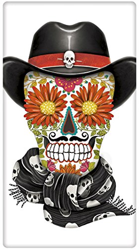 Halloween Cowboy Sugar Skull 100  Cotton Flour Sack Dish Tea Towel   Mary Lake Thompson 30  X 30