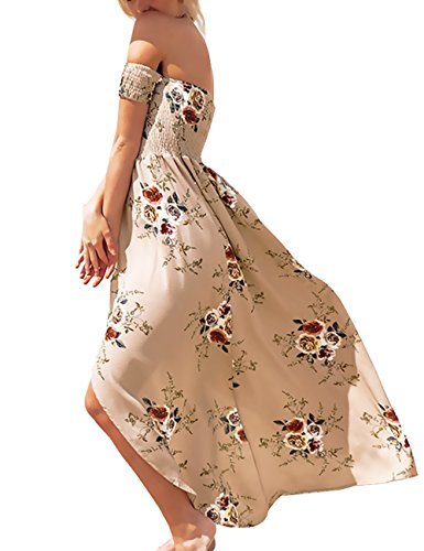 ISASSY - Vestido - Sin tirantes - Floral - Sin mangas - para mujer marrón claro