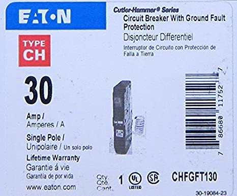 CHFGFT130 Eaton Cutler Hammer Circuit Breaker w// Ground Fault Protection 30 Amp