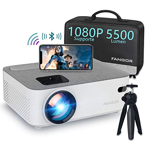 Mini Wifi Projector, Fangor Bluetooth video Projector 720P native Updated 5500 lumen support HD 1080P,200'' Display,55000Hrs, Compatible with HDMI/USB/VGA/SD/AV for Android/iPhone/Laptops/PC/TV Stick