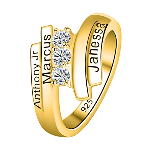 Quiges Gold Plated Silver 3 CZ Birthstone Personalised Engraved 4 Name Spiral Wrap Band Custom Ring 10.25 by Quiges