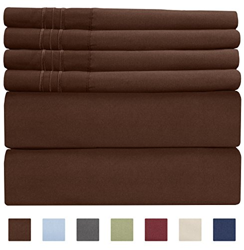 Queen Size Sheet Set - 6 Piece Set - Hotel Luxury Bed Sheets - Extra Soft - Deep Pockets - Easy Fit - Breathable & Cooling Sheets - Wrinkle Free - Fitted Chocolate Sheet