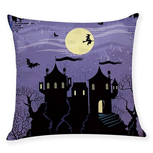 iYBUIA Home Decor Cushion Cover Happy Halloween Painting Throw Pillowcase Pillow Covers -