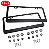 License Plate Frame LIBERRWAY Stainless Steel Matte with Screw Caps (2 Pieces) Black