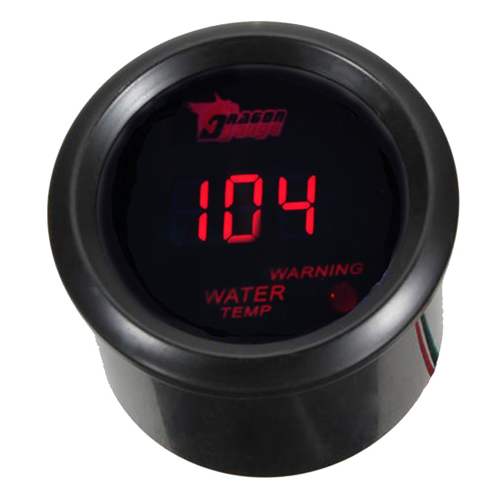 ESUPPORT Car 2'' 52mm Digital Water Temp Gauge Red LED Fahrenheit F by ESUPPORT