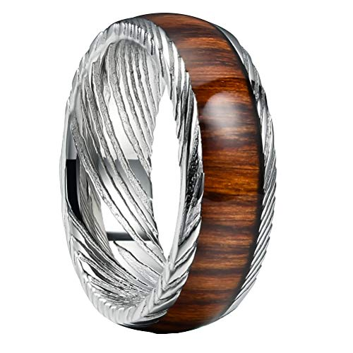 THREE KEYS JEWELRY 8mm Damascus Steel Mens Wedding Ring Wood Grain Koa Wood Inlay Silver Wedding Band Engagement Ring Size 8