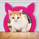 "PAWSM Interior Cat Door (Pink or White) with Clip-on Removable Grooming Brush | Scratches Back Collects Cat Hair | Hides Litter Box from Kids and Dog | Internal Hole 6""x7.2"" for Med to Large Cats"