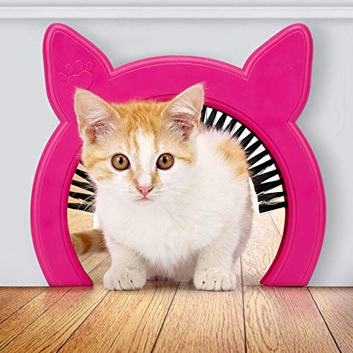 PAWSM Cat Door Removable Brush Grooms Kitty   Hides Litter Box from Kids and Dog   Cat Doors for Interior Doors   Pink or White