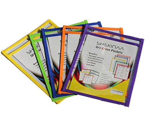 Dry Erase Pockets - 50 Pack Reusable Oversized Pouches 10x13 inch - Write and Wipe Plastic Sleeves - Erasable Folder Easy Insert - School Supply by SHEKINAA (Image #3)