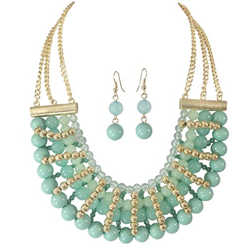 Gypsy Jewels Beaded Statement Big Gold Tone Bib Bubble Boutique Necklace Earrings (Mint (Mint Beaded Necklace)