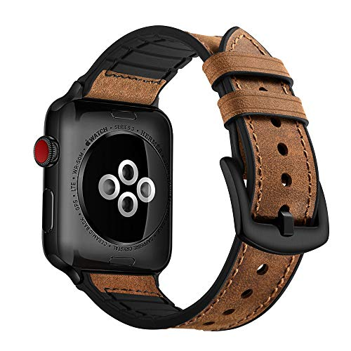 (OUHENG Compatible with Apple Watch Band 42mm 44mm, Sweatproof Genuine Leather and Rubber Hybrid Band Strap Compatible with iWatch Series 4 44mm Series 3 Series 2 Series 1 42mm Sport Edition, Brown)