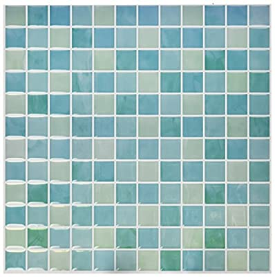 "RoomMates Blue Mosaic StickTILES, 4-pack 10.5"" X 10.5"" by York Wallcoverings - Wall Decals"