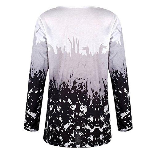 Neck QHDZ Grey T Print shirts longue Tops longues l'automne V femme Floral femmes dcontracts pour Chemise manches rfrTPFwx