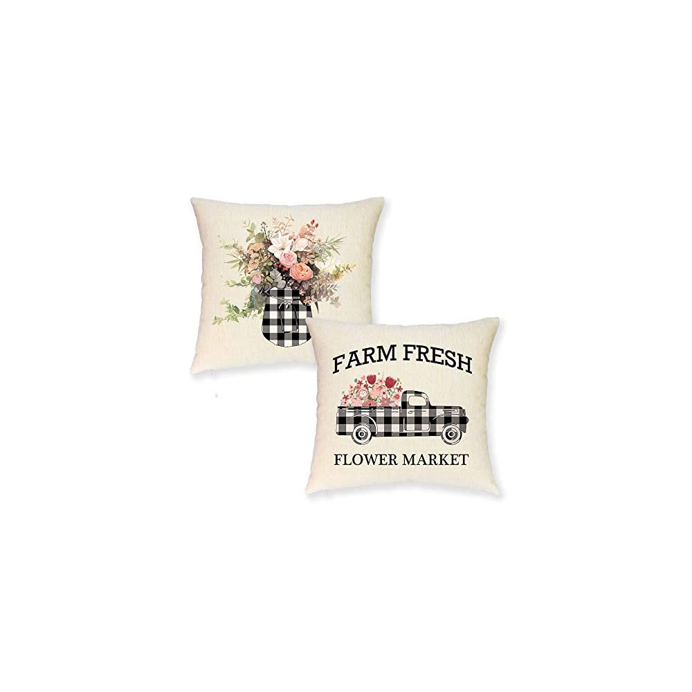 JYNHOOR Set of 2 Farmhouse Spring Throw Pillow Covers –18x18 Inch Buffalo Plaid Farmhouse Truck Farm Fresh Flower Summer…