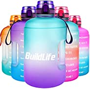 BuildLife Gallon Motivational Water Bottle Wide Mouth with Time Marker/Flip Top Leak Proof Lid/One Click Open/