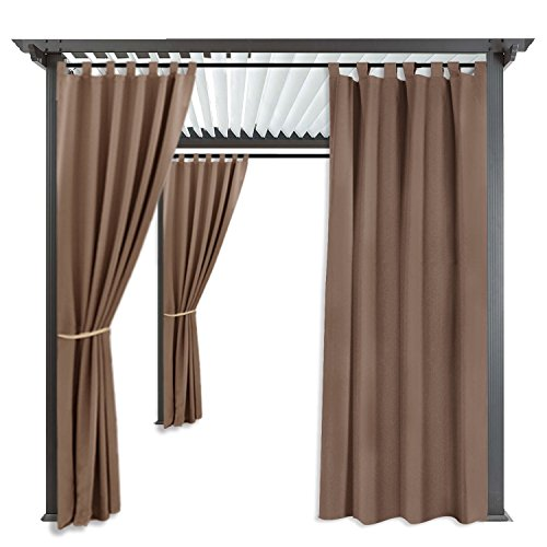 RYB HOME Outdoor Cabana Curtain - Stain Repellent Awning Shade for Lawn & Garden Thermal Insulated UV Ray Protection Water Proof Drape with Tab Top, Single Panel, Wide 52