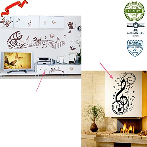 Ieasycan New Vinyl Music Note Notes Decal Wall Sticker Home Arts Decor Wall Decoration (Tree Christmas 6ft Walmart White)
