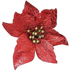 Hanobo 20 Pcs Gold Glitter Artificial Flowers Christmas Tree Wreaths Ornaments 5 Inch 4