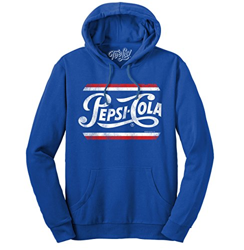 (French Terry Pepsi Hooded Sweatshirt  Poly Cotton Blend  Classic Look-X-Large Blue Heather)