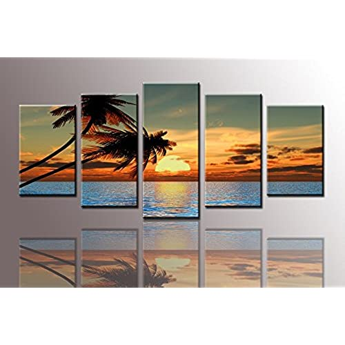 Youkuart Ks6057,canvas Prints Picture Sensations Framed Huge 5 Panel  Tropical Palm Tree Sunset Peace Giclee Canvas Art