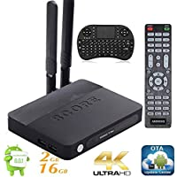 KUKELE A93 Android Streaming Media Player 2GB/16GB TV Box 4K UHD Ready to Stream Media Center  w/ KU Updator Wireless Keyboard