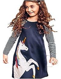 Girls Cotton Dress Stripe Long Sleeve Casual Cartoon Animal Print Applique Long Shirt For Legging