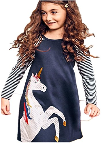 Girls Cotton Dress Stripe Long Sleeve Casual White Horse Print Long Shirt For Legging