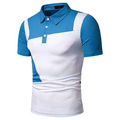 Sagton Playera Polo Ajustada para Hombre - Azul - X-Large: Amazon ...